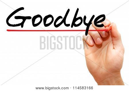 Hand Writing Goodbye , Business Concept