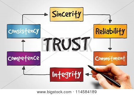 TRUST color process business concept chart background poster