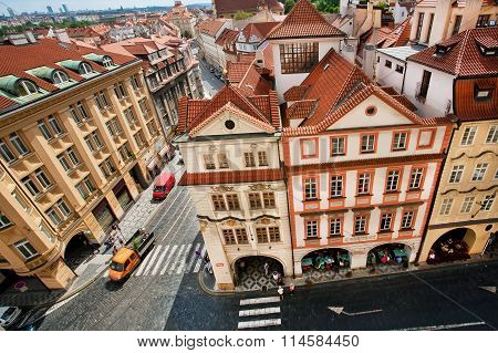 Cityscape With Red Tiled Roofs And Baroque Houses Of Historical Town Prague. Unesco World Heritage R