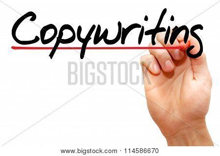 Hand Writing Copywriting, Business Concept