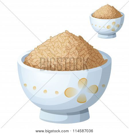 Bowl of brown rice isolated on white background. Detailed Vector Icon