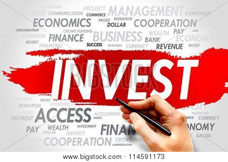 INVEST word cloud business concept, presentation background