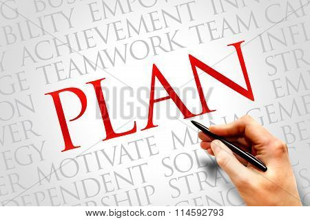 Plan word cloud business concept, presentation background