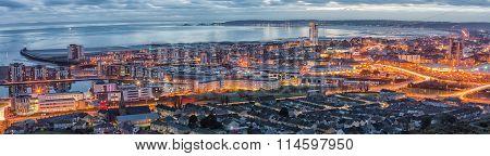 Evening over Swansea city