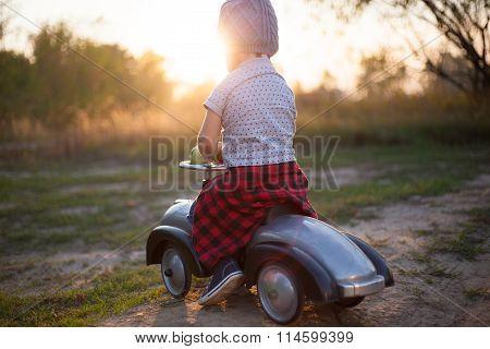 Toddler Have Journey By Vintage Car