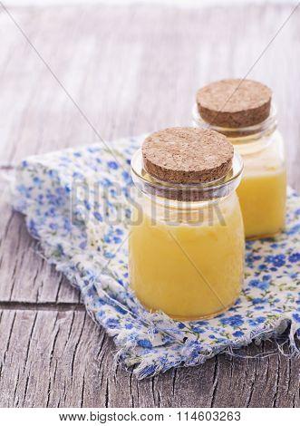 Fresh croissants for breakfast Kurd with lemon