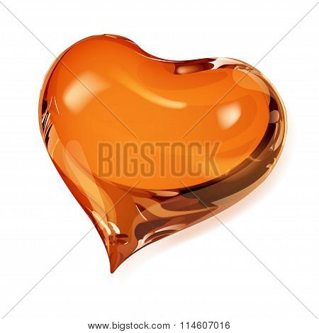 Big opaque heart in orange colors on white poster