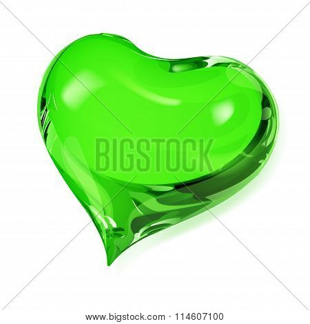 Big opaque heart in green colors on white poster
