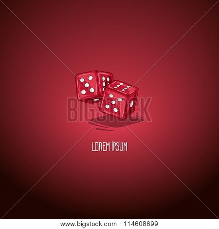 Vector illustration two dice. Symbol of gambling and luck. Game in casino. Handdrawing symbol.
