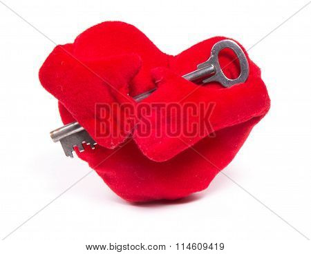 Soft Toy Heart With Handles And A Key