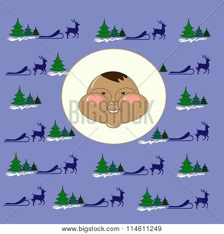 Eskimo Chukchi in northern vector background reindeer, sleigh, fir-tree. Winter, new year