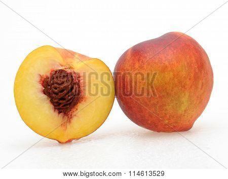 Ripe peach fruit isolated on white background whole and cutout