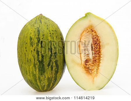whole and half melon bollo white isolated