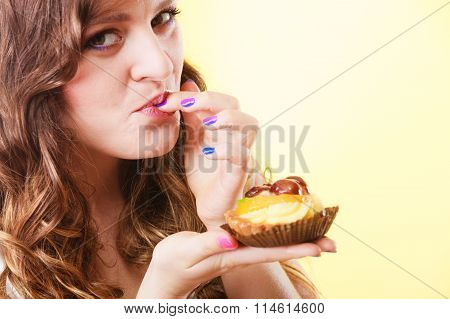 Closeup Flirty Woman Eating Fruit Cake