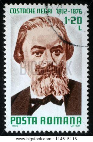 ROMANIA - CIRCA 1976: a stamp printed in Romania shows Costache Negri (1812-1876) Moldavian-born Romanian writer, politician and revolutionary, circa 1976.