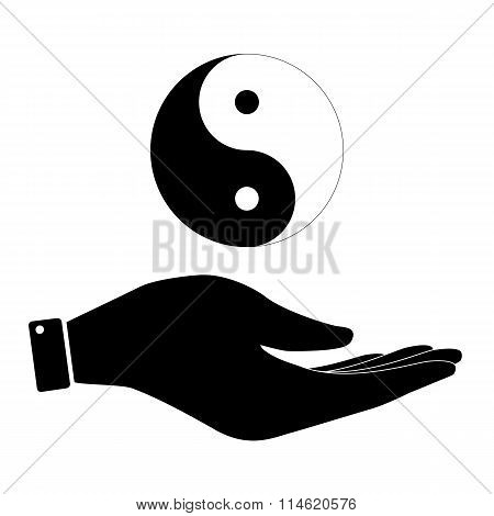 Yin and yang in hand icon, care symbol vector illustration. Flat design style poster