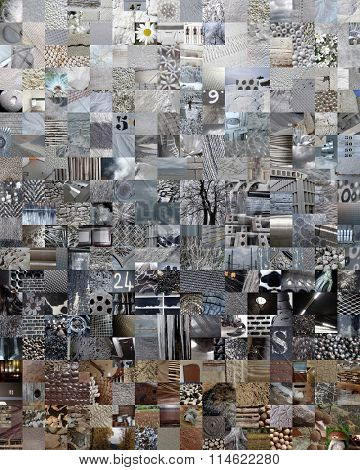 GREY patchwork photo montage background