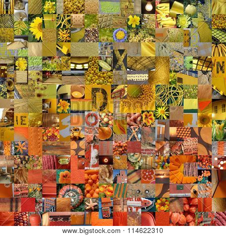 YELLOW ORANGE patchwork photo montage background