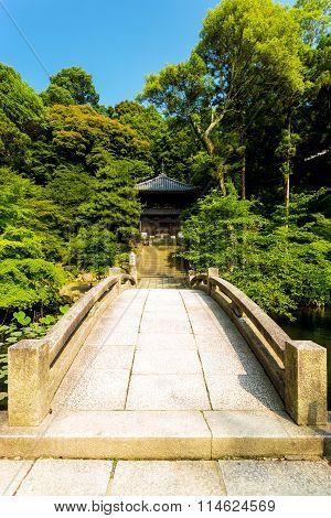 Straight Stone Bridge Over Pond Chionin Temple