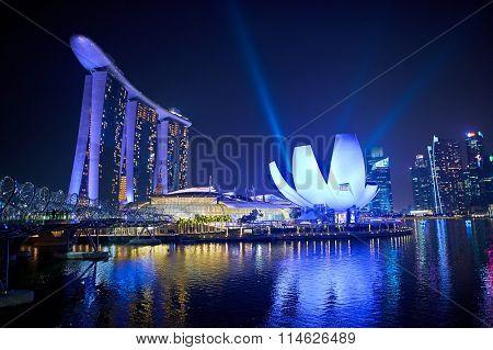 SINGAPORE - NOVEMBER 17, 2015: Marina Bay Sands at night. Marina Bay Sands is an integrated resort fronting Marina Bay in Singapore