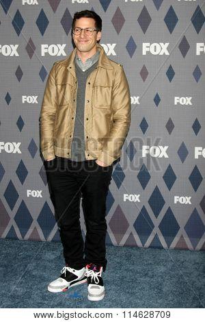 LOS ANGELES - JAN 15:  Andy Samberg at the FOX Winter TCA 2016 All-Star Party at the Langham Huntington Hotel on January 15, 2016 in Pasadena, CA