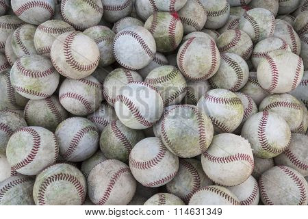 Large Stack of many baseballs. Great Baseball background