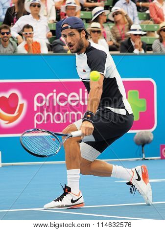 Feliciano Lopez of Spain slice follow through