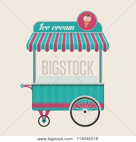 Vintage ice cream cart bus vector illustration.