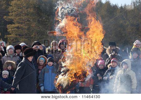 Burning Winter Effigy At Shrovetide