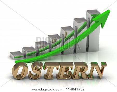 Ostern- Inscription Of Gold Letters And Graphic Growth