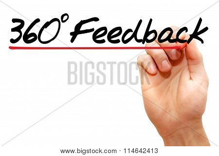 Hand writing 360 degrees Feedback with marker business concept poster