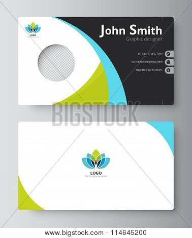 Business Greeting Card Template Design. Introduce Card Include Sample Text Position. Vector Illustra