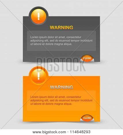 Two styles of notification warning windows isolated on pale grey background poster