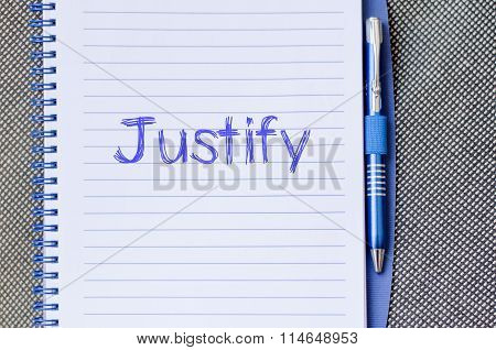 Justify Write On Notebook