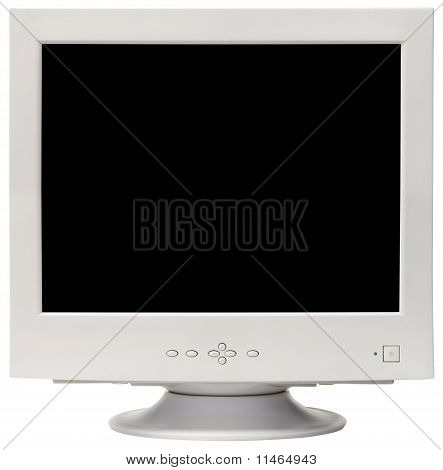 Old CRT computer monitor isolated inside and outside with clipping path poster