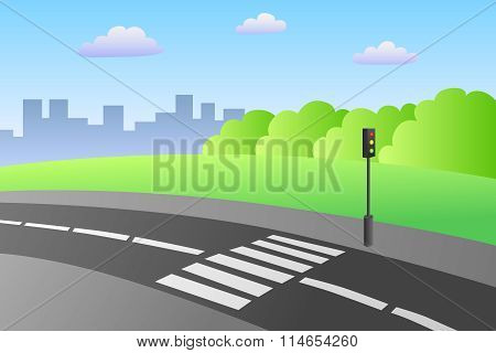 Crosswalk road landscape summer day illustration vector
