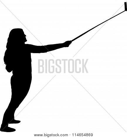 taking selfie, silhouette vector