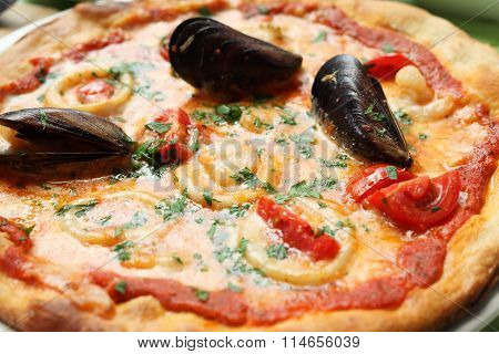 Pizza With Mussels And Squids