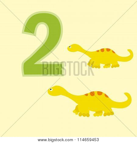 Number Two. Two Dinosaurs (diplodocus ).