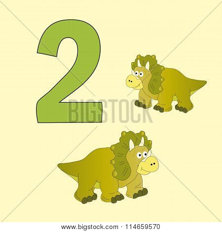 Number Two. Two Dinosaurs (triceratops ).