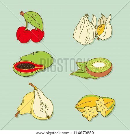 Set of hand-drawn tropic fruits