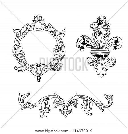 Set of gravure design elements
