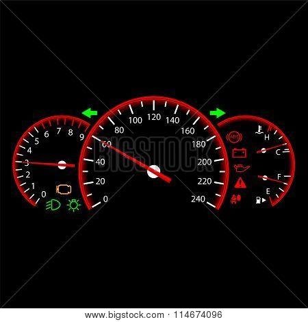 Car dashboard modern automobile control panel vector poster