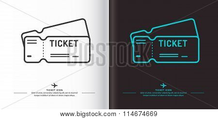 Ticket Icon On Background.