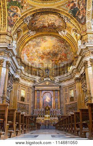 Rome, Italy - September 10, 2015: Chorus of Basilica Il Gesu, Rome, Italy