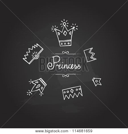 Set of six chalk cute crowns Princess lettering hand drawn vector illustration