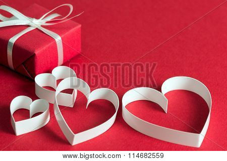 Red Gift Box With Heart Shape Symbol