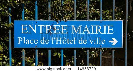 """Sign Pointing In Direction Of City Hall In France """"french Mairie"""""""