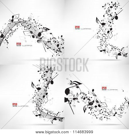 Vector illustration. Music, abstract musical background with notes.