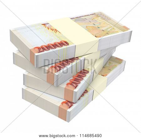 Armenian drams bills isolated on white background. Computer generated 3D photo rendering.